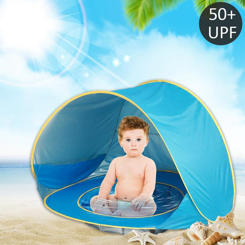 Bebé tienda Uv protección Sunshelter con una piscina bebé niños playa tienda Pop portátil sombra piscina UV sol de protección refugio