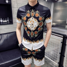 Mens T-shirt Set Personality Print Summer Casual +Shorts Two-piece Sportswear Men Fashion Clothing
