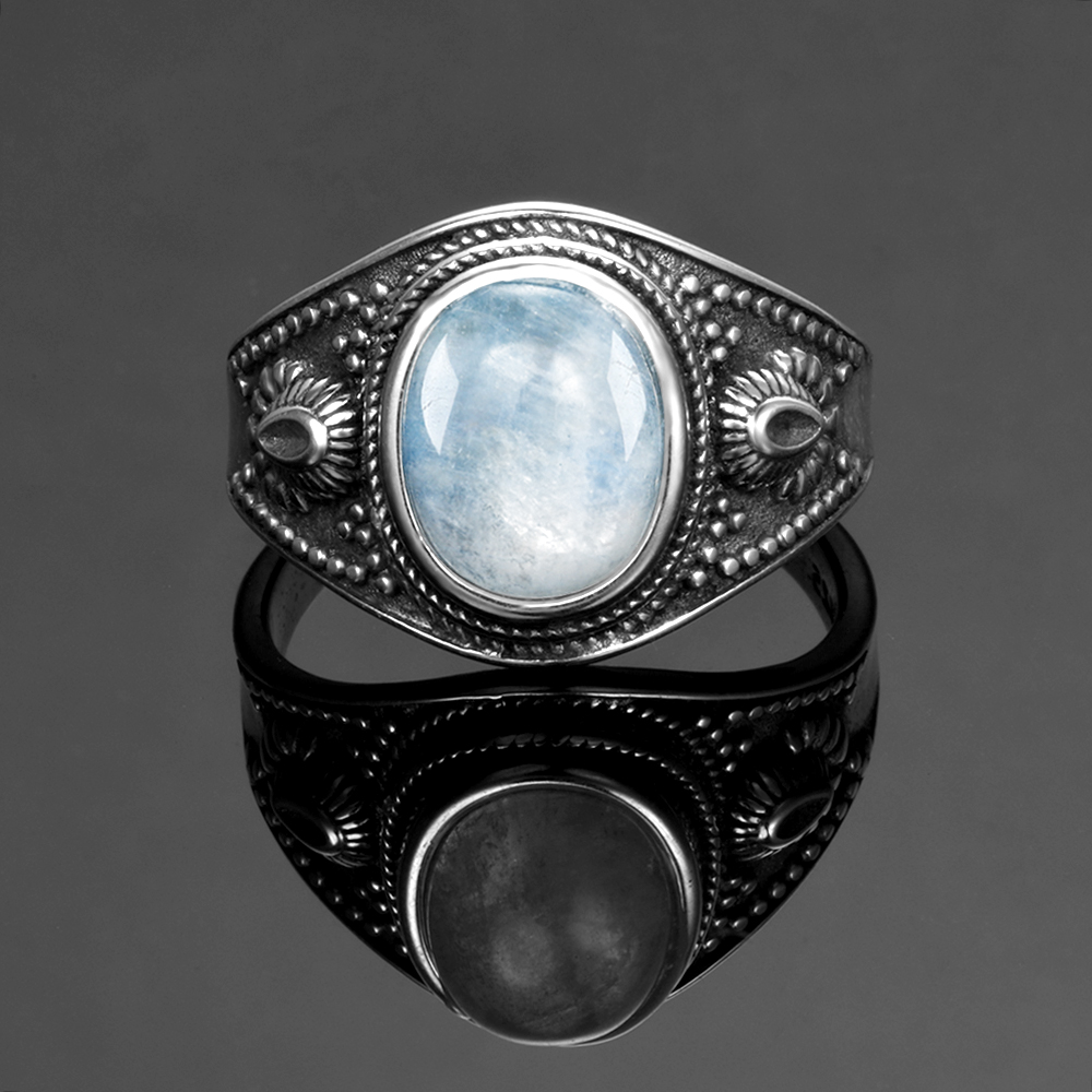 Men and women 925 sterling silver jewelry DIY retro ring natural moonstone 8x10MM oval gem gift Men and women 925 sterling silver jewelry DIY retro ring natural moonstone 8x10MM oval gem gift wholesale party wedding