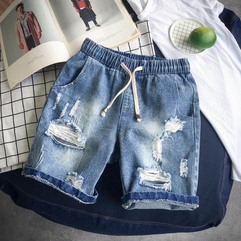 Summer New Short Jeans Men Fashion Solid Color Casual Torn Hole Denim Five Pants Man Streetwear Hip Hop Loose Shorts Male M-5XL