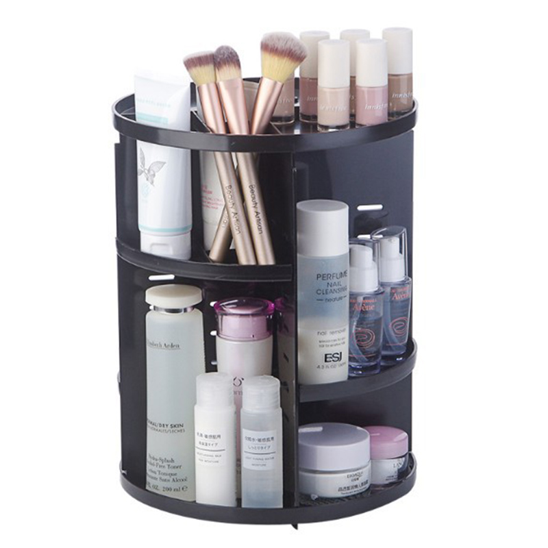 DTSL 30.4*23cm 360-degree Rotating Makeup Organizer Box Brush Holder Jewelry Organizer Case Jewelry Makeup Cosmetic Storage Box(China)