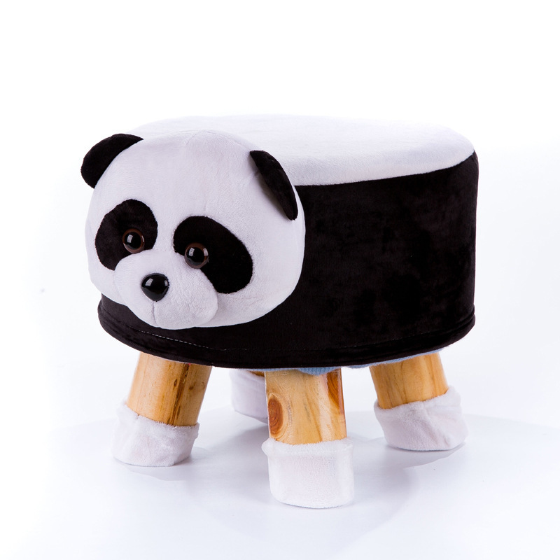 LM19216 Solid Wood Animal Head Stool Cylinder Shoes Stool Children Furniture
