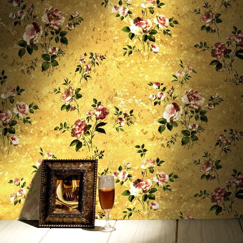 Papier peint de luxe européen fleur d'or 3d feuille d'or Vintage chambre américaine salon magasin de vêtements Pvc papier peint rouleau