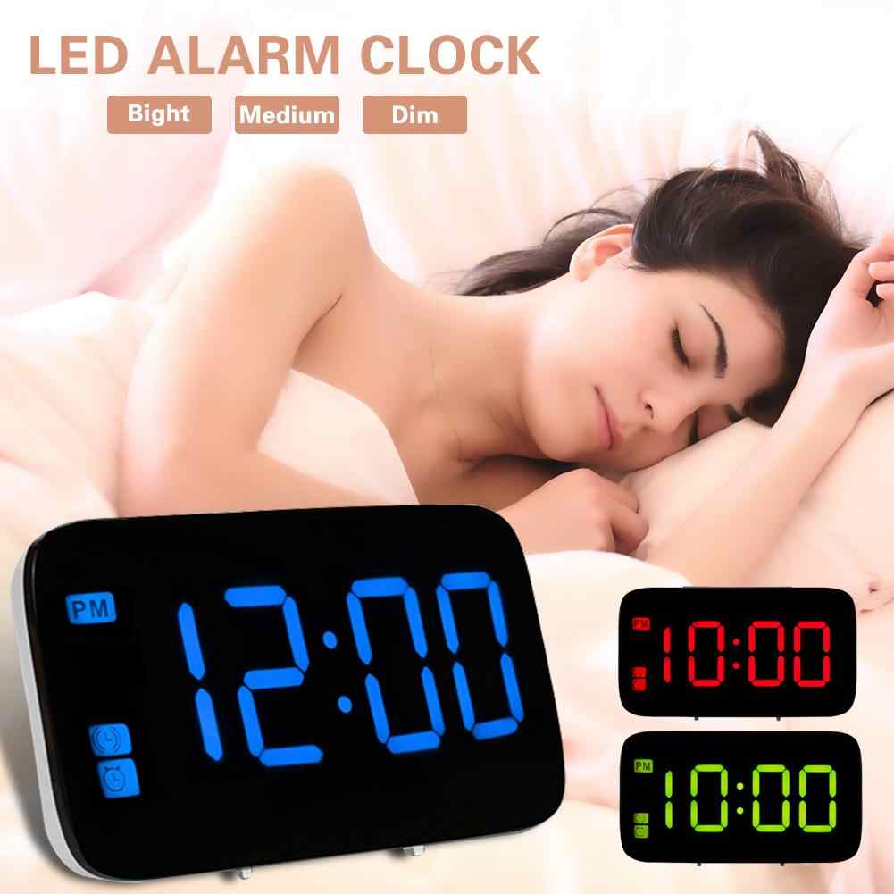 Voice-Controlled LED Electronic LED Alarm Clock Sound Voice Control Light Digital LED Time Humidity Display Wooden Desk Alarm