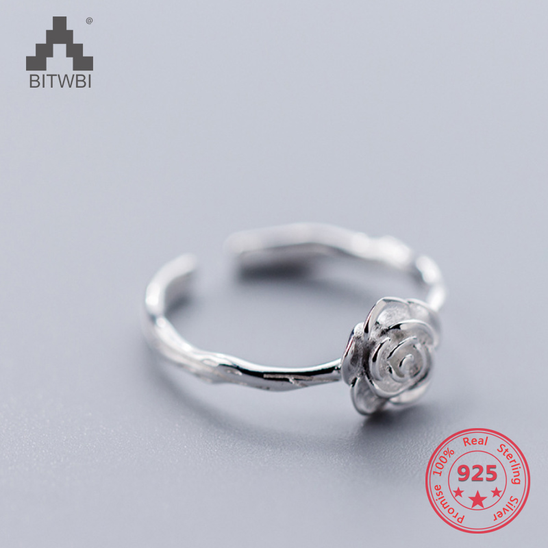 Factory Price 100% 925 Sterling Silver Fashion Minimalism Flower Open Ring Fine Jewelry For Female