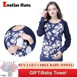 Emotion Moms с длинным рукавом зимние хлопчатобумажная одежда для беременных блузка для кормления топы для беременных для женщин средства ухода ...