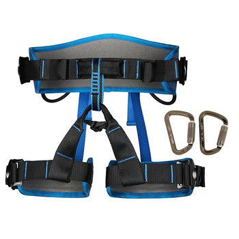 Rock Climbing Harness Seat Belt + 1 Pair 30KN D-Ring Auto Locking Carabiner Outdoor Rappelling Equipment Climbing Accessories