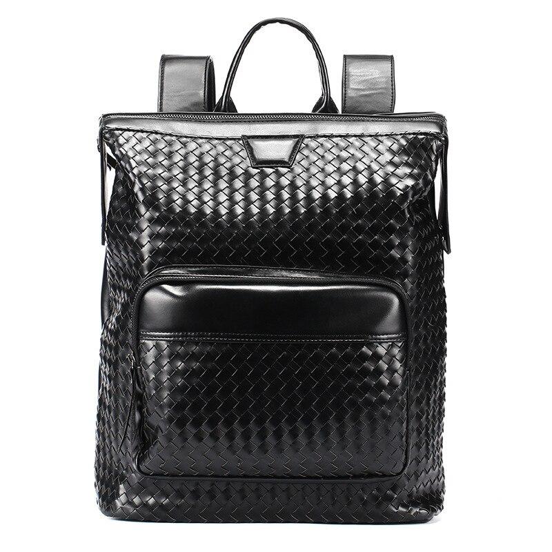 Hommes sac à dos en cuir PU sac à dos affaires angleterre Euro sac à bandoulière tricot Mochilas décontracté collège voyage tendance luxe sac à dos