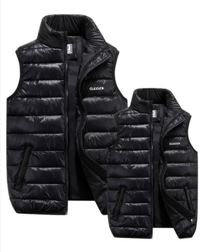 Men Winter Down Quilted Vest Body Warmer Warm Sleeveless Padded Jacket Coat