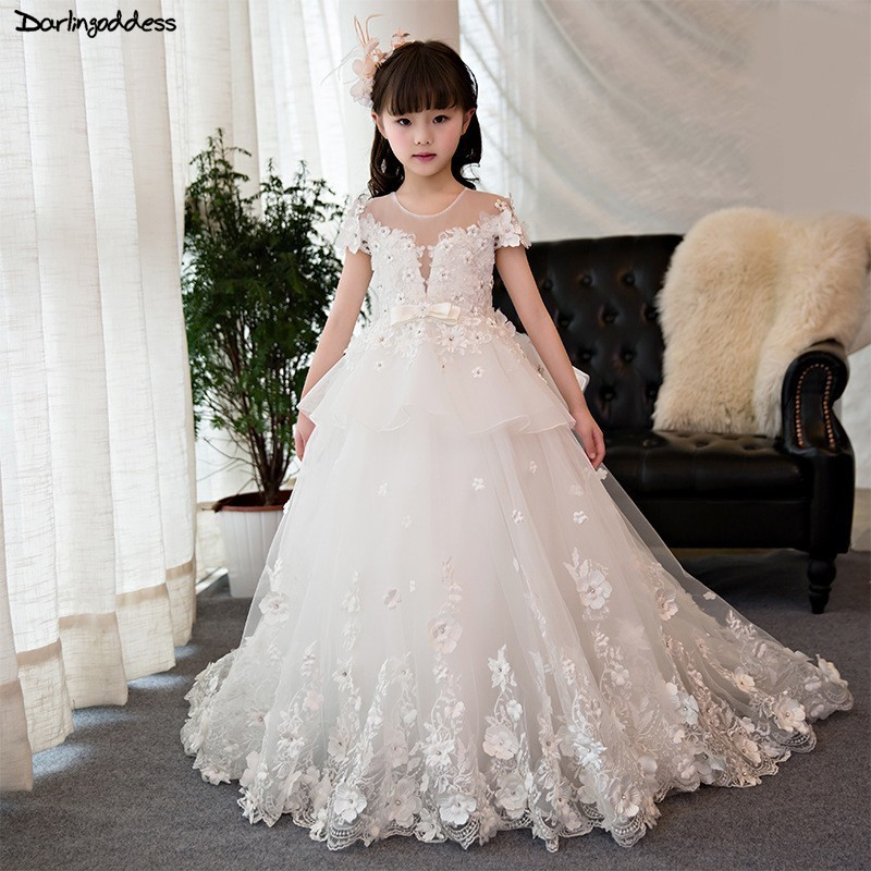 Luxury White   Flower     Girl     Dresses   for Weddings 2019 Lace Ball Gown First Communion   Dresses   for Little   Girls   Kids Pageant Gowns