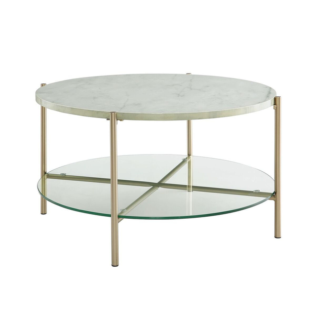We Furniture 32 Round Coffee Table White Marble Top Glass Shelf