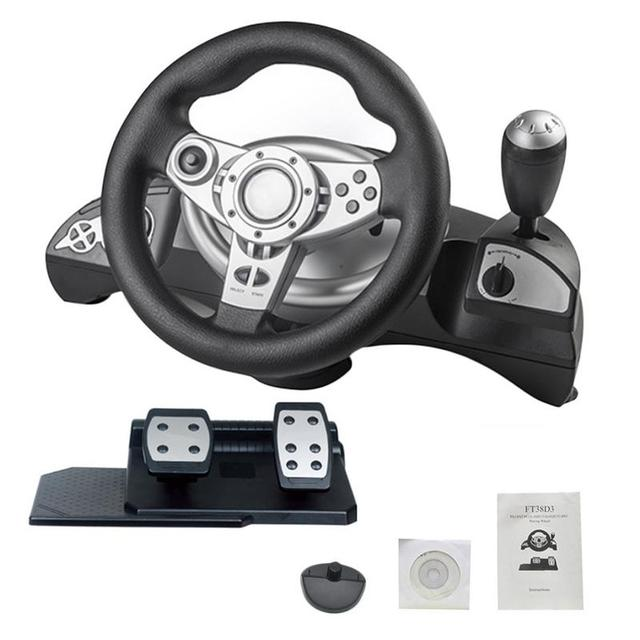 4e6c825836a [Genuine]Car Racing Game Steering Wheel Simulator 270degree Rotation  Console Gamepad Wheel For PC