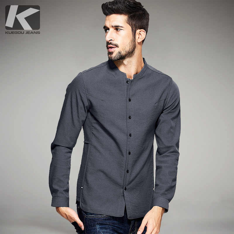 Nowa wiosna męskie koszule na co dzień gruba aksamitna czerń szary kolor luksusowej marki odzież człowieka z długim rękawem ubrania topy slim 25801