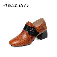 AIKELINYU 2019 Top Quality Slub Print Leather Shoes Pointy Pumps Easy Women High Heels Woman Fashion Genuine