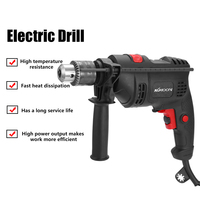 220V 500W Electric Drill Hammer Drill Impact Drill Multi function Adjustable Speed Woodworking Power Tool with Horizontal Bubble