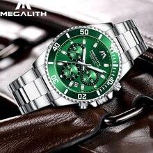 Мегалитическая модные Повседневное часы Для мужчин Водонепроницаемый аналоговые 24 часа дата Кварцевые часы спортивный хронограф мужские часы Reloj Hombre