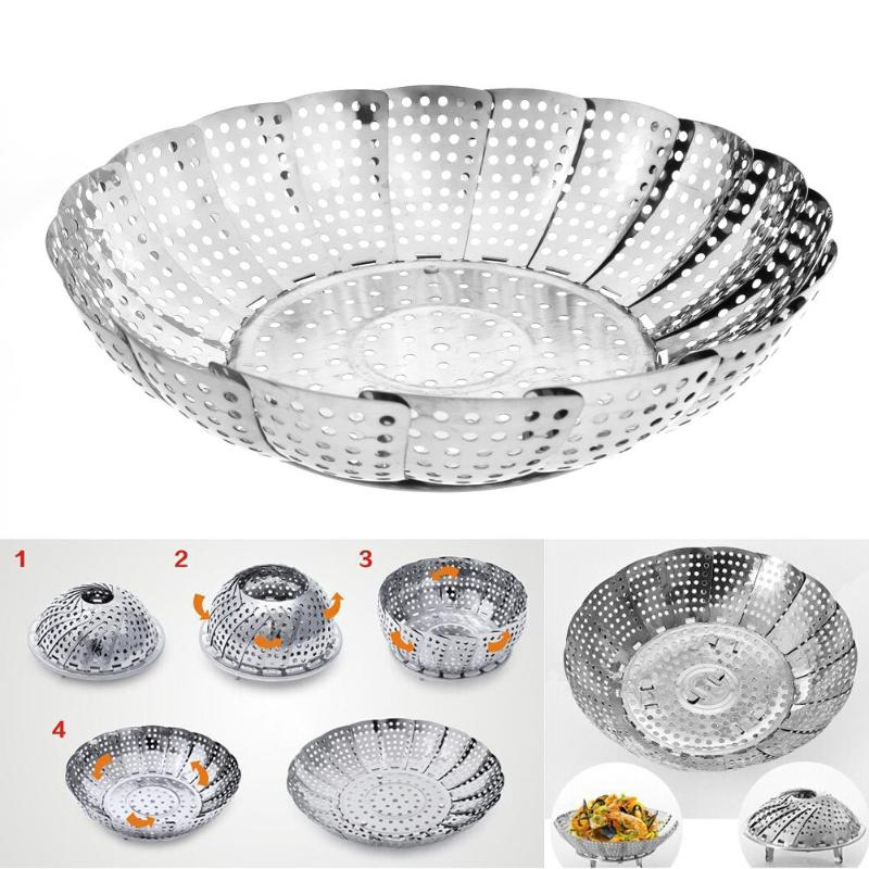 Folding Stainless Steaming Basket Telescopic Steamer Drawer Cookware Food Fruit Vegetable Dish Container Steaming Basket