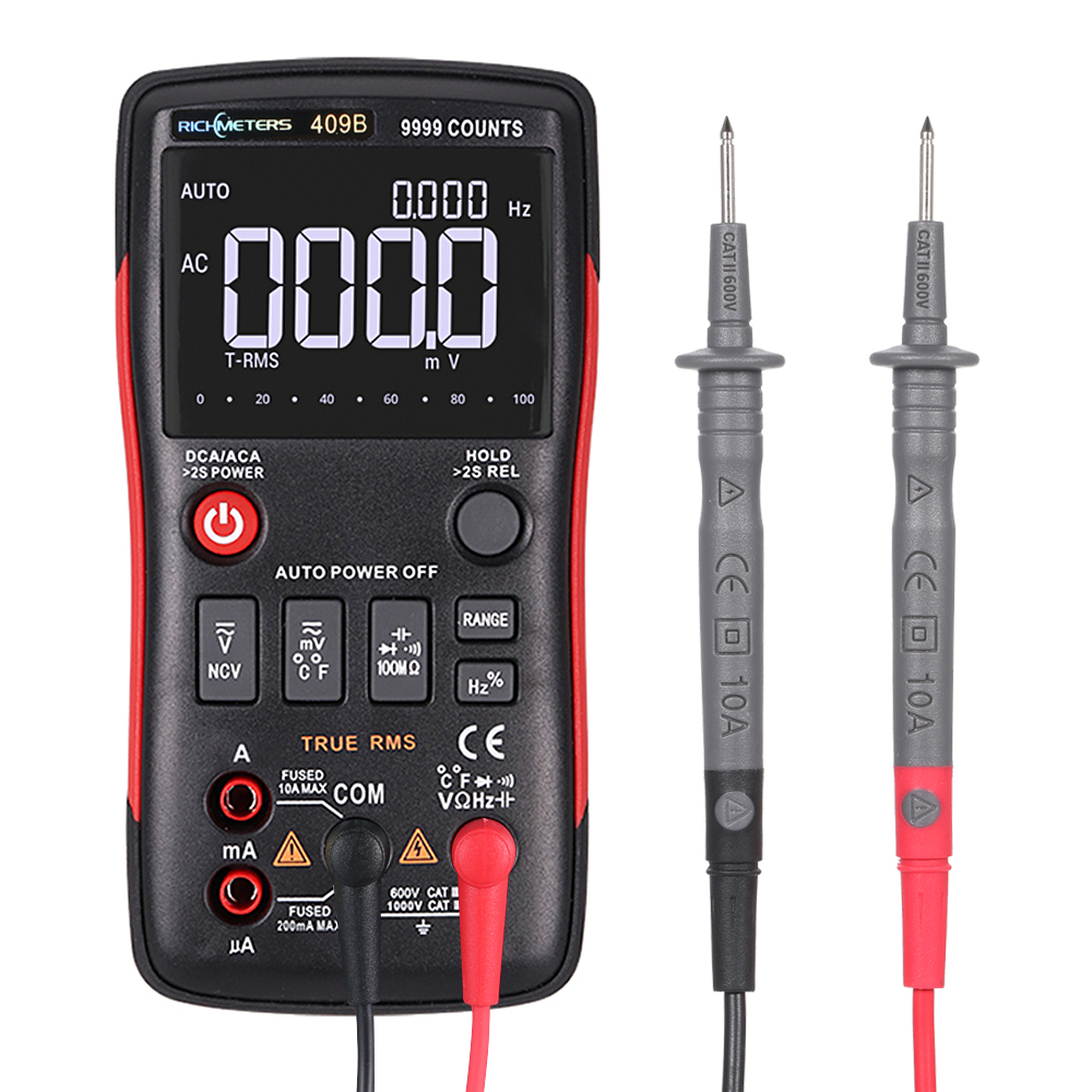RICHMETERS RM409B True RMS Digital Multimeter Button 9999 Counts With Analog Bar Graph Temperature Sensor Test