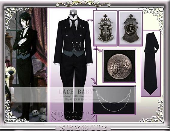 Black Butler 2 Kuroshitsuji Sebastian Cosplay Costume Full Sets Cosplay Theme Carnival Costume Halloween Fancy Party Suit