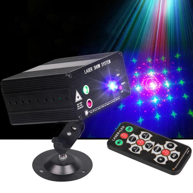 DJ Laser Stage Light Full Color 48 RGB Patterns Projector Lamp 3W LED Stage Effect Lighting for Disco KTV Xmas Party Decoration