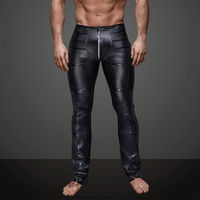 Mens Slim Exotic Long Pants Faux Leather Black Wet Look Long Johns Men Club Dancer Skinny Trousers Fetish Gay Tight Pants S XXL