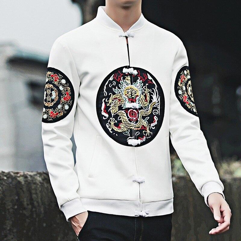 #4348 Frühling Herbst Traditionellen Chines Stil Mantel Männer Stehkragen Stickerei Drachen Hip Hop Jacke Herren Streetwear Größe 5xl