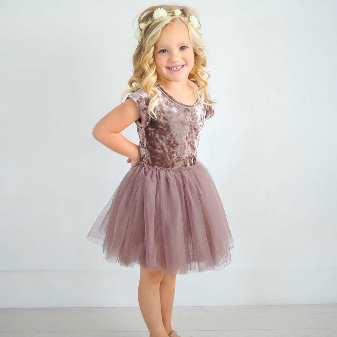 Kids Baby Girl Long Sleeve Velvet Dress Pageant Party Princess Tutu Spring Dress