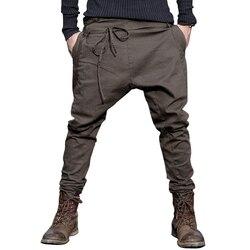 Hot 2019 Spring autumn New Unique Design Waist Rope Feet Pants Men England Low Fork Across Casual Pants male Harem Pants K075