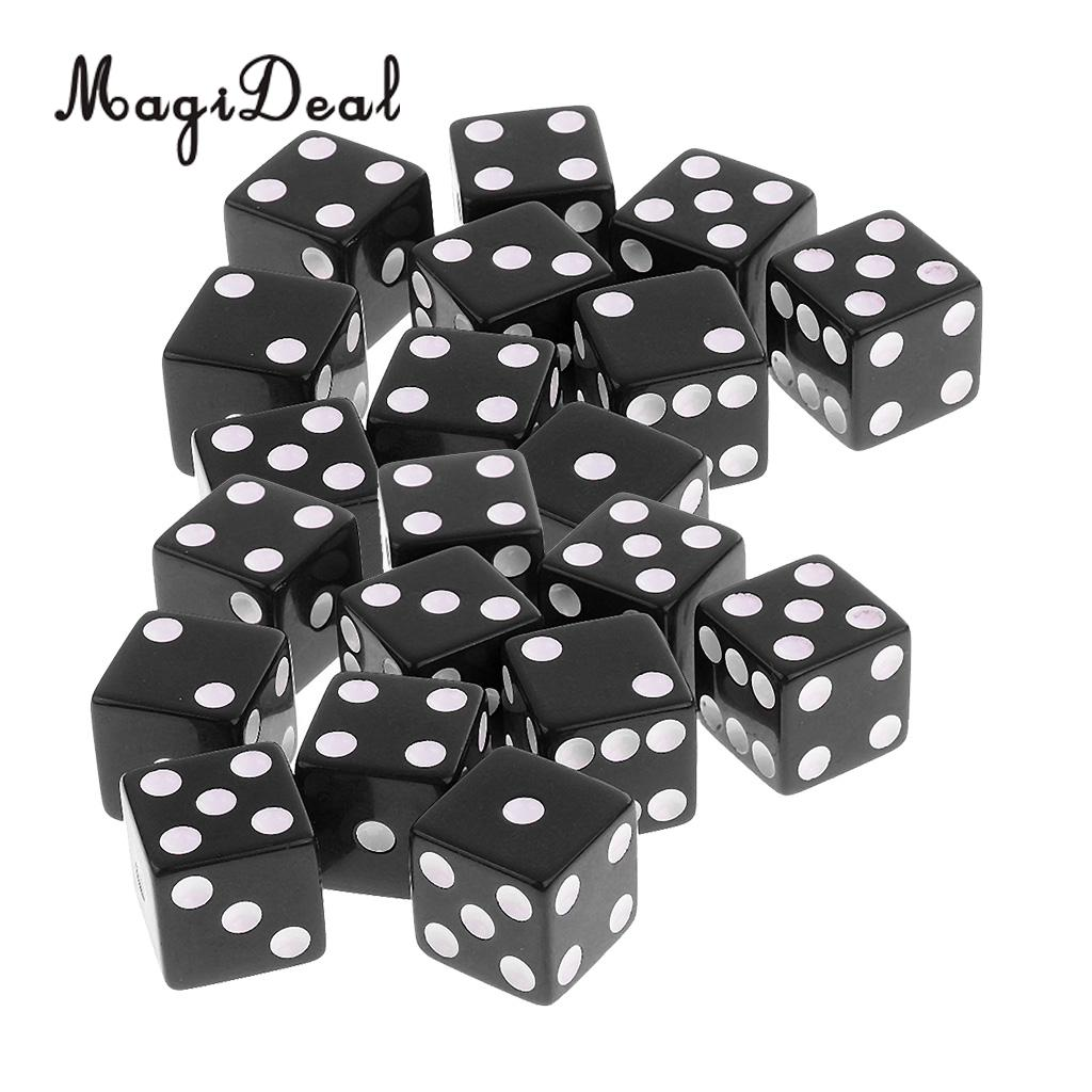 MagiDeal 20Pcs Six Sided D6 Dice Digital Dices Set For D&D RPG MTG Playing Game Toy Casino Supplies Black