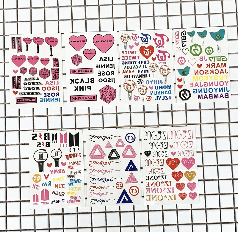 Classic Toys 100 Sheets/lot Idol Blackpink Izone Twice Seventeen Got7 Kpop Tattoo Sticker Fans Gift Party Supplies