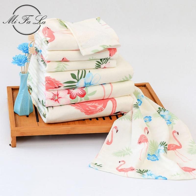 3 Stks/set Antibacteriële Bamboe Badhanddoek Set Voor Volwassenen Kids Flamingo Bloemen Gedrukt Familie Thuis Douche Handdoeken Badkamer Set Gift
