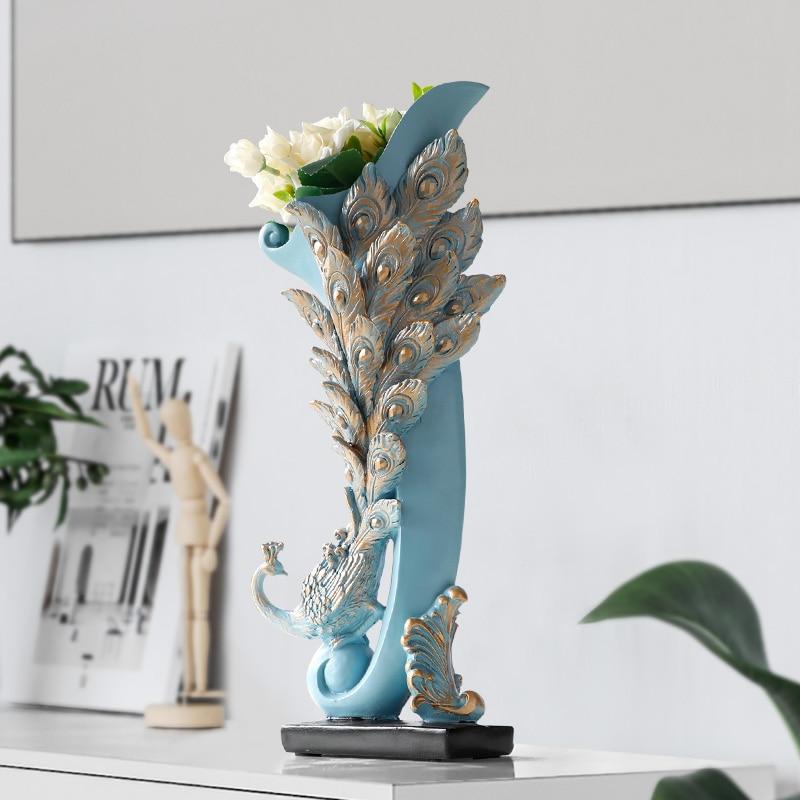 Vase Decoration Home Resin Peacock flowers Vase crafts for room TV cabinet Tabletop flower bottle Statue