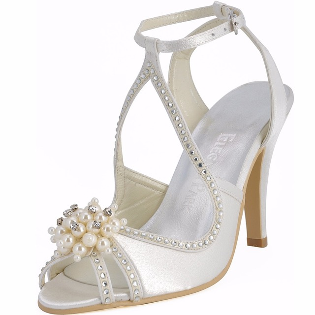 Summer Woman Sandals Wedding Bridal Shoes Ivory Size 8Pearl Ankle Strap  High Heel Rhinestone Satin Bridesmaid Party Prom EP11058 3f25af4422f1