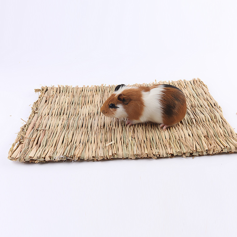 2018 straw mat font b pet b font hamster rabbit chewing toy grass preparation pad small
