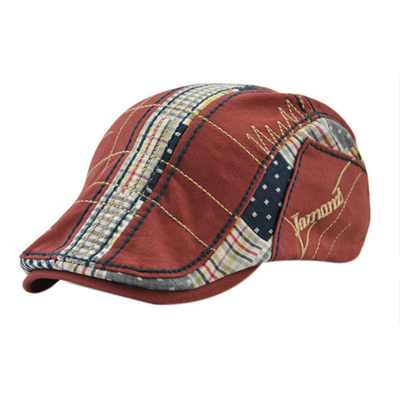 Jamont Casual Men Cotton Patchwork Beret Cap Women Men Autumn Winter Plaid Duckbill Flat Hat Embroidery Causal England Style H