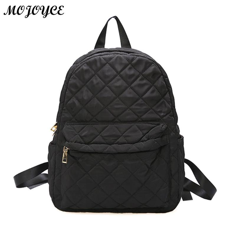 Casual Women Large Capacity Lattice Backpack Preppy Style Nylon Solid Shoulder Travel School Bags Sac A Dos Mochila Feminina