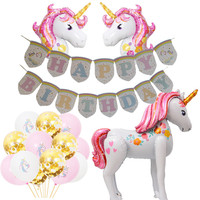 Unicorn Birthday Party Decoration Supply 3D Unicorn Large Walking Animal Foil Balloons Girls Birthday Aniversary Party