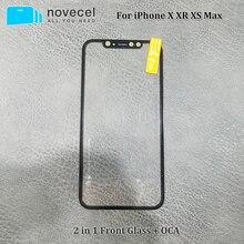 Novecel A+ Качество переднего экрана внешняя стеклянная линза с OCA Замена для iPhone X XR XS Max Запасные части
