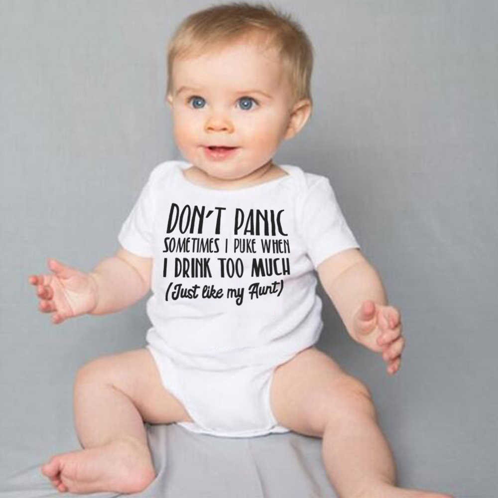 9943fd3ad Detail Feedback Questions about 2019 Baby Bodysuit White Onesie Don't Panic  Just Like My Aunt Letters Print Little Girls Boys Clothes Summer Cotton  Outfits ...