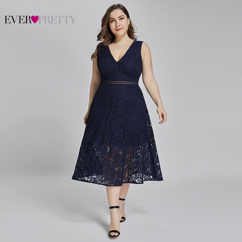 Plus Size Short Evening Gowns Ever Pretty AS05919 New Elegant Navy Blue V-neck Lace Robe Coktail 2019 Summer   Cocktail     Dresses