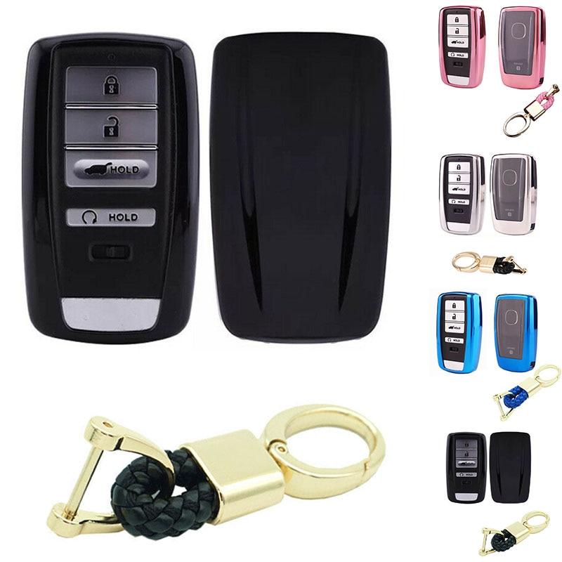 Chrome Soft TPU Smart Remote Key Fob Case Cover For Acura