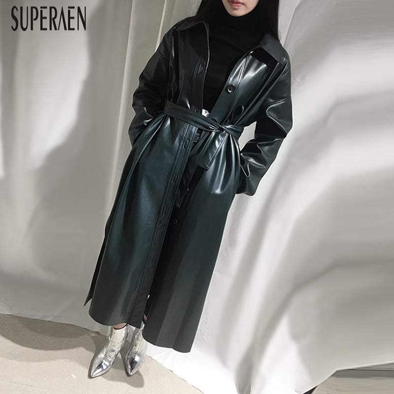 SuperAen Europe Fashion   Trench   Coat for Women Wild Casual 2019 Spring New Leather Windbreaker Female Solid Color Women Clothing