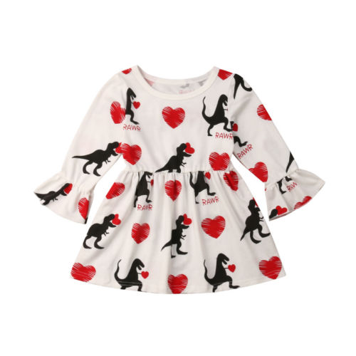 1-6T Dinosaur Toddler Kids Baby Girls Cotton Princess Long Sleeve Dress Clothes