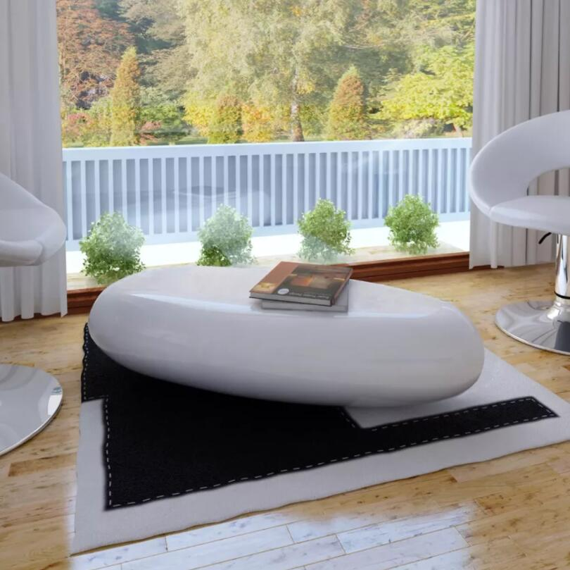 Vidaxl High Gloss Coffee Table White: VidaXL High Gloss Fiberglass Coffee Table Living Room