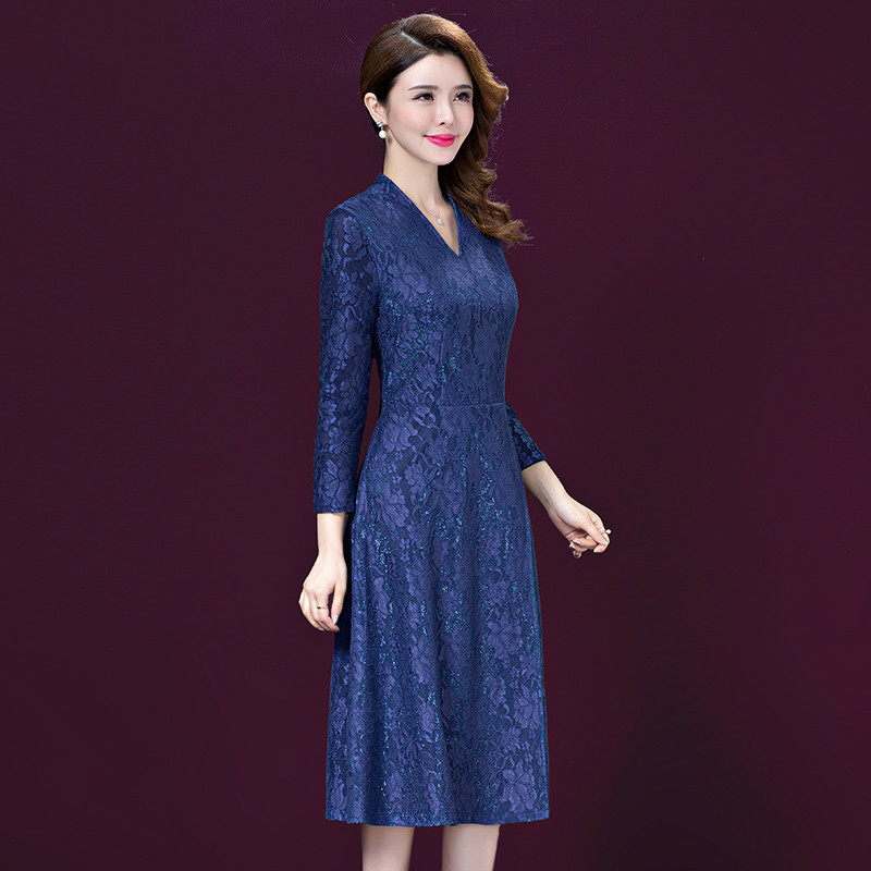New Spring Summer Elegant Lace Dresses Women Vintage V neck Long Sleeve Knee Length Party Dress Vestido Plus Size 5XL in Dresses from Women 39 s Clothing