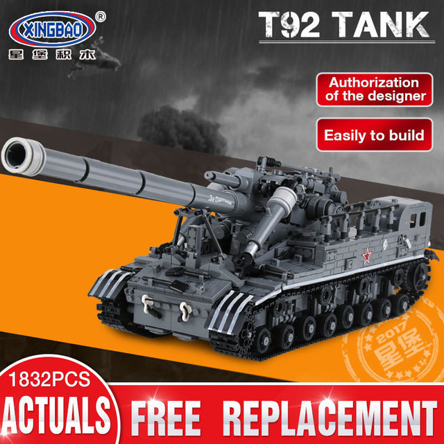 XingBao XB06001 1389Pcs Creative MOC Military Series The T92 Tank Set Children Education Building Blocks Bricks Toys Model Gifts