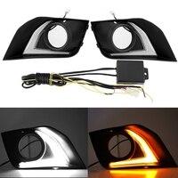1 Pair Car Daytime Running Light Turn Signal 2 Color LED Fog Lamp for Mitsubishi ASX 2016 2017 2018 Car Interior Light