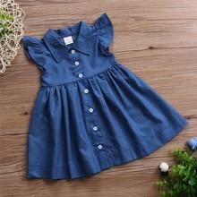 Купить с кэшбэком Hot 2019 New Summer Dress Toddler Kids Baby Girls Lovely Birthday Clothes Blue Sleeveless Casual Button Party Beach Dresses