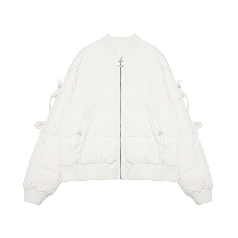 Blanc White D'hiver Coton Nouveau Longues Ruban 2018 Stand Veste Mode Femmes Lâche Col Z275 Casual À Manteaux Manches Dames Parkas Ouatée q4A5RxSt