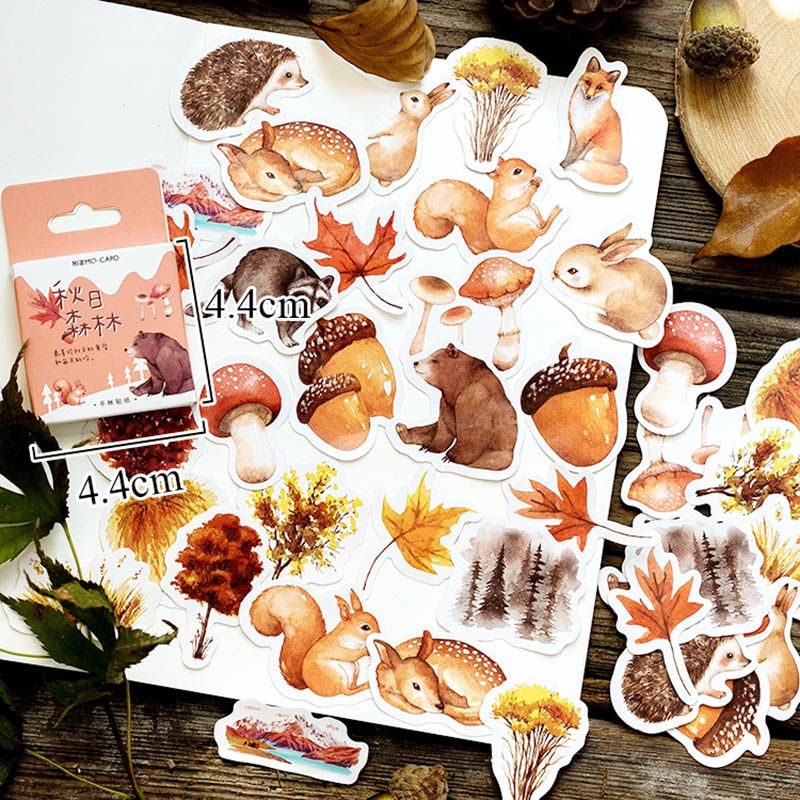 46pcs/box Fall Stickers Cartoon Squirrel Hedgehog Animals Adhesive Stickers Decorations Scrapbooking Diary Stationery Kids Gift